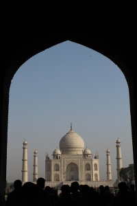 Approaching the Taj through the first gateway.