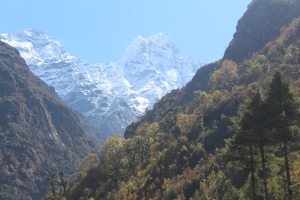 Snow-capped Himalayan peaks popping up all along the route