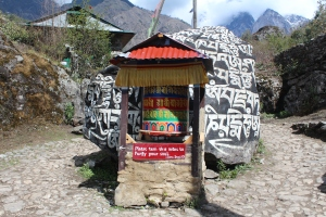 "A typical prayer-wheel (""get me to Namche...get me to Namche..."")"