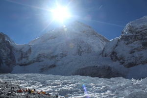 The edge of Everest Base Camp, spilling onto the huge glacier